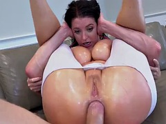 curvy angela white sports buttplug before anal banging