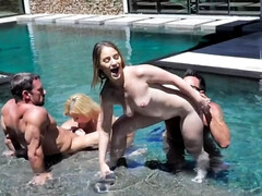 Sexy girls and stepdads organize foursome in the swimming pool