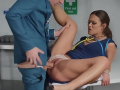 Hot nurse and horny doctor are having copulation in the office