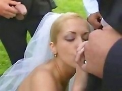 Bride in public have an intercourse after wedding