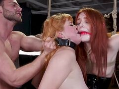 Two innocent and hot redheads dominated by one impudent fellow