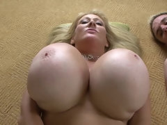 Super busty and curvy blonde mom Abbey Lane in anal action with cumshot