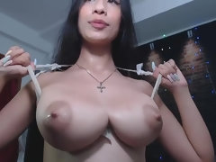 Lactating Asian Girl with big natural tits on Webcam - milking fetish