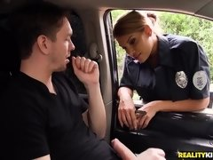 Sex addicted female cop Mercedes Carrera abuses a guy with big dick