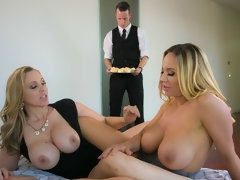 Two awesome chicks with big boobs Julia Ann and Olivia Austin share a young cock